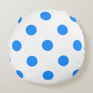 Polka Dots Huge - Dodger Blue on White Round Pillow
