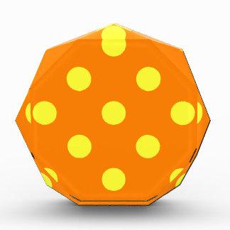 Polka Dots Huge - Electric Yellow on Orange Acrylic Award