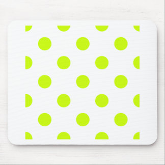 Polka Dots Huge - Fluorescent Yellow on White Mousepad