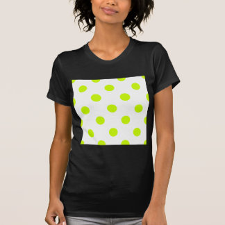 Polka Dots Huge - Fluorescent Yellow on White Tee Shirt