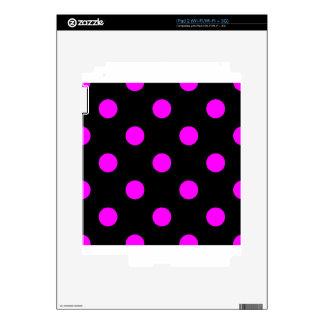 Polka Dots Huge - Fuchsia on Black Decal For iPad 2