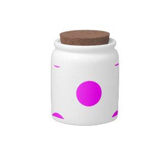 Polka Dots Huge - Fuchsia on White Candy Dishes