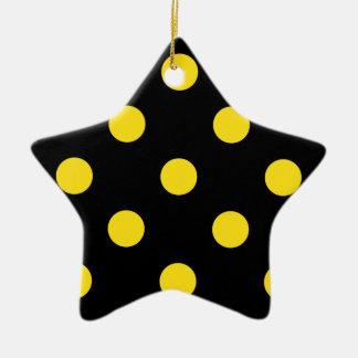 Polka Dots Huge - Golden Yellow on Black Ceramic Ornament