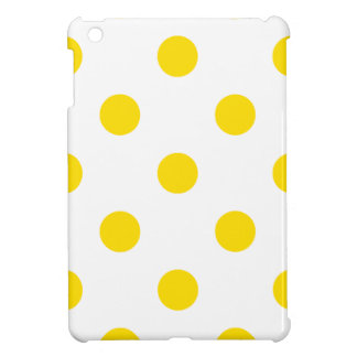 Polka Dots Huge - Golden Yellow on White Cover For The iPad Mini