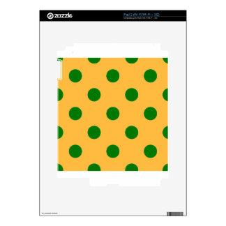 Polka Dots Huge - Green on Orange Skin For The iPad 2