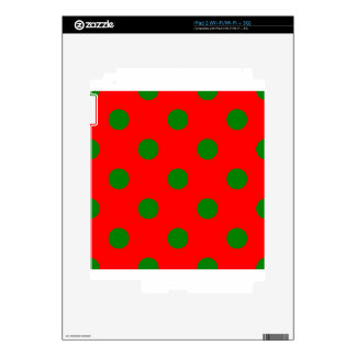 Polka Dots Huge - Green on Red Decal For The iPad 2