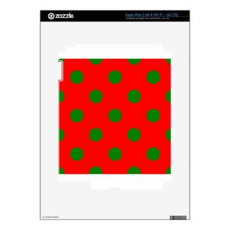 Polka Dots Huge - Green on Red iPad 3 Decal
