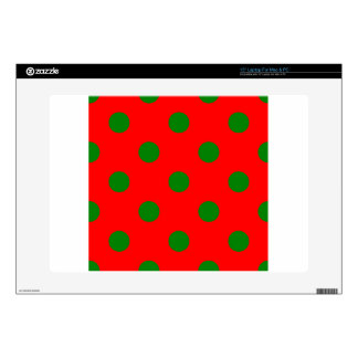Polka Dots Huge - Green on Red Laptop Decal