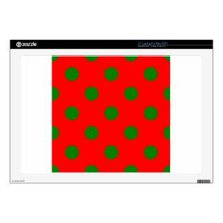 Polka Dots Huge - Green on Red Skins For Laptops