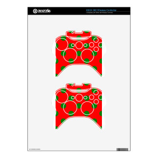 Polka Dots Huge - Green on Red Xbox 360 Controller Decal
