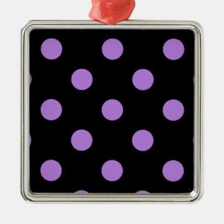 Polka Dots Huge - Lavender on Black Metal Ornament