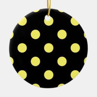 Polka Dots Huge - Lemon on Black Ceramic Ornament