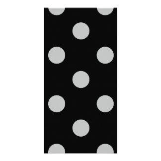 Polka Dots Huge - Light Gray on Black Card