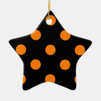 Polka Dots Huge - Orange on Black Ceramic Ornament