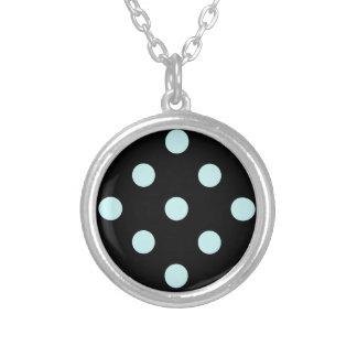 Polka Dots Huge - Pale Blue on Black Round Pendant Necklace