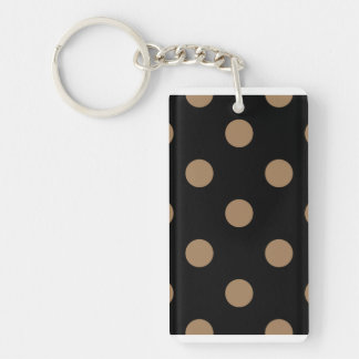 Polka Dots Huge - Pale Brown on Black Double-Sided Rectangular Acrylic Keychain