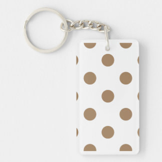 Polka Dots Huge - Pale Brown on White Double-Sided Rectangular Acrylic Keychain