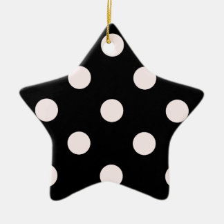 Polka Dots Huge - Pale Pink on Black Ceramic Ornament