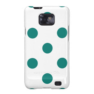 Polka Dots Huge - Pine Green on White Galaxy S2 Covers