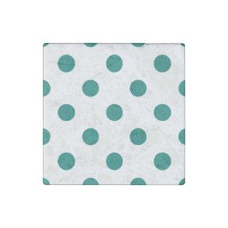 Polka Dots Huge - Pine Green on White Stone Magnet