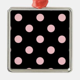 Polka Dots Huge - Pink on Black Metal Ornament