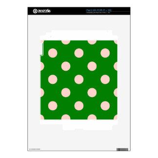 Polka Dots Huge - Pink on Green Decals For iPad 2