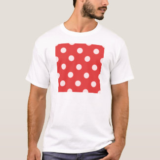 Polka Dots Huge - Pink on Red T-Shirt