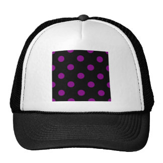 Polka Dots Huge - Purple on Black Trucker Hat