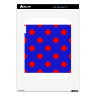 Polka Dots Huge - Red on Blue iPad 2 Skins