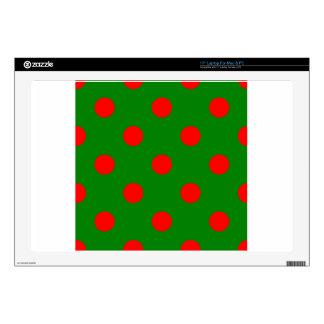 """Polka Dots Huge - Red on Green Skins For 17"""" Laptops"""