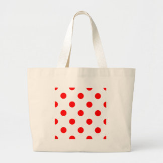 Polka Dots Huge - Red on White Large Tote Bag