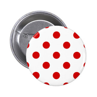 Polka Dots Huge - Rosso Corsa on White 2 Inch Round Button