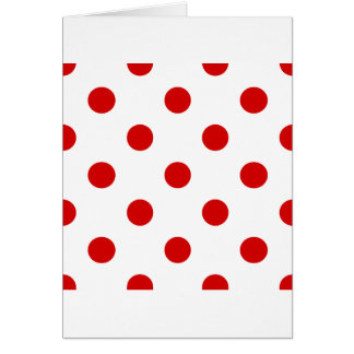 Polka Dots Huge - Rosso Corsa on White Greeting Cards