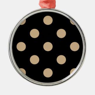 Polka Dots Huge - Tan on Black Metal Ornament