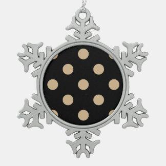 Polka Dots Huge - Tan on Black Snowflake Pewter Christmas Ornament