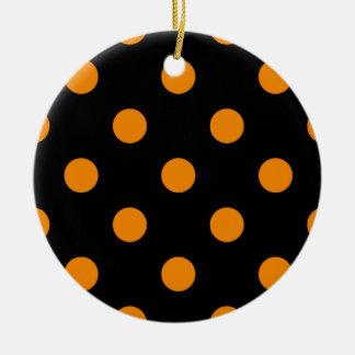Polka Dots Huge - Tangerine on Black Ceramic Ornament
