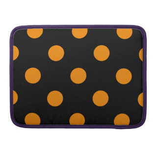 Polka Dots Huge - Tangerine on Black MacBook Pro Sleeve