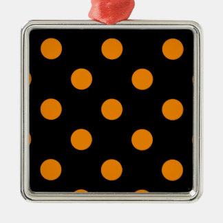 Polka Dots Huge - Tangerine on Black Metal Ornament