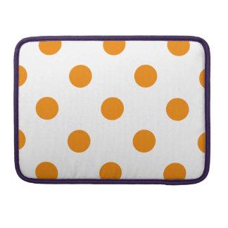 Polka Dots Huge - Tangerine on White MacBook Pro Sleeves
