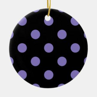 Polka Dots Huge - Ube on Black Ceramic Ornament