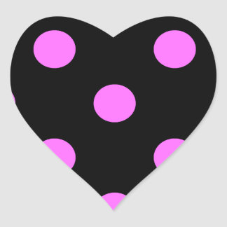 Polka Dots Huge - Ultra Pink on Black Heart Sticker