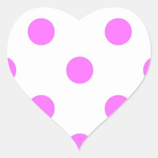 Polka Dots Huge - Ultra Pink on White Heart Sticker