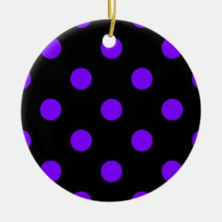 Polka Dots Huge - Violet on Black Ceramic Ornament