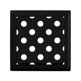 Polka Dots Huge - White on Black Jewelry Boxes