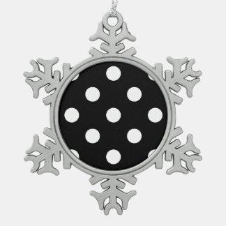 Polka Dots Huge - White on Black Snowflake Pewter Christmas Ornament