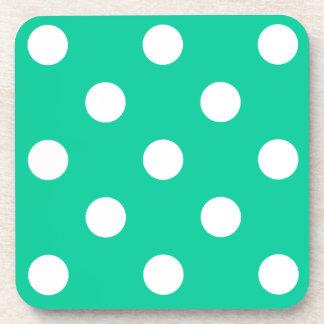 Polka Dots Huge - White on Caribbean Green Beverage Coasters