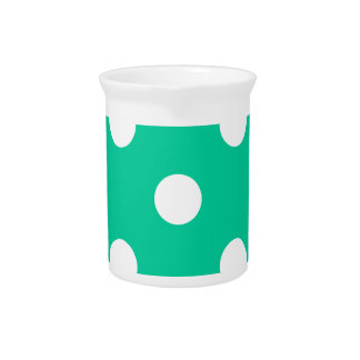 Polka Dots Huge - White on Caribbean Green Drink Pitchers