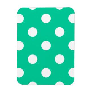 Polka Dots Huge - White on Caribbean Green Rectangular Photo Magnet