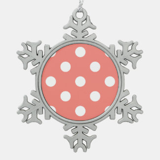 Polka Dots Huge - White on Coral Pink Snowflake Pewter Christmas Ornament
