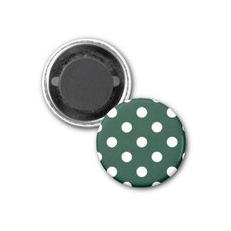 Polka Dots Huge - White on Dark Green 1 Inch Round Magnet